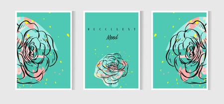 Hand drawn vector abstract Save the Date greeting card collection set template with succulents,cactus plant and freehand texture in mint color.Design for wedding,journaling,birthday,invitation,label. Ilustrace