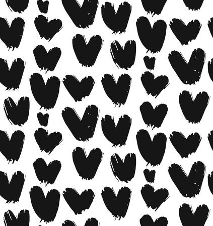 手描かれた抽象的なシームレスなパターン ベクトル分離された黒と白の心。バレンタインデー、ラップ、ファッション、結婚式、誕生日、花嫁、装