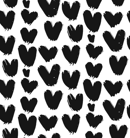 Hand drawn vector abstract seamless pattern with black and white hearts isolated.Design for Valentines day,wrapping,fashion,wedding,birthday,bride,decoration,journaling,business Illustration
