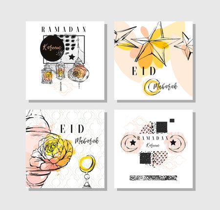laterns: Hand made vector abstract freehand textured islamic card set template with Eid Mubarak calligraphy quote,moon,stars,flowers,laterns and freehand textures in pastel colors isolated on white background