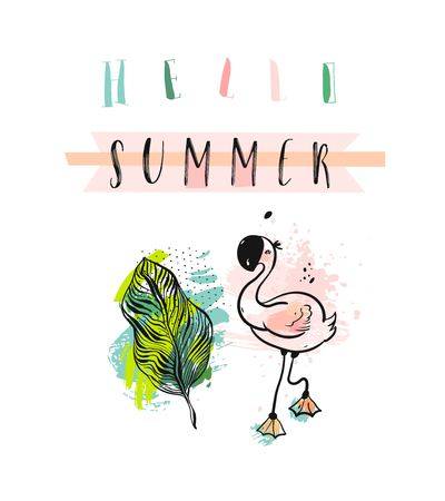 Hand drawn vector abstract creative funny cute Summer time illustration with pink flamingo,tropical palm leaves and modern calligraphy quote Hello summer in pastel colors isolated on white background