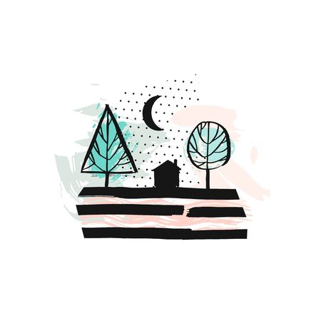Hand drawn vector abstract scandinavian graphic illustration with house,trees and moon night in pastel colors.Desoration design elements.Nordic nature landscape concept