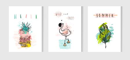 beach party: Hand drawn vector abstract summer time cards set with pink flamingo,tropical palm leaves,pineapple and funny quotes isolated on white background.Hipster wedding, birthday, decoration,logo.