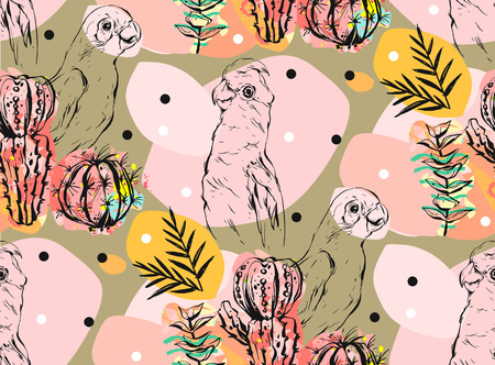 Thai dessert: Hand made vector abstract collage seamless pattern with tropical parrots,cactus plants and succulent flowers isolated on color background