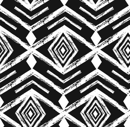 黒の部族ナバホ ベクトル落書き要素とのシームレスなパターンです。アステカ抽象的な幾何学的な芸術の印刷物。流行に敏感な民族背景  イラスト・ベクター素材