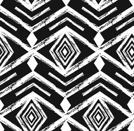 Black tribal Navajo vector seamless pattern with doodle elements. Aztec abstract geometric art print. Ethnic hipster backdrop