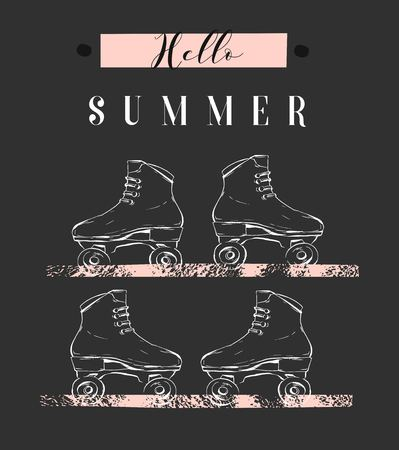 Hand drawn creative illustration with graphic rollers and modern calligraphy quote Hello Summer in pastel colors. Ilustracja