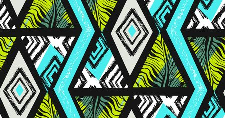 Hand drawn freehand textured tropical pattern collage with zebra motif, organic textures. Illustration