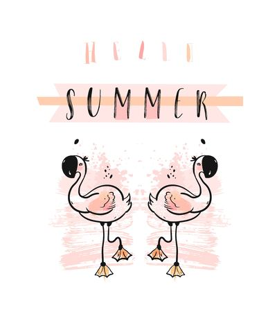 Hand drawn abstract creative funny cute summer time illustration with pink flamingos and modern calligraphy quote Hello summer in pastel colors.