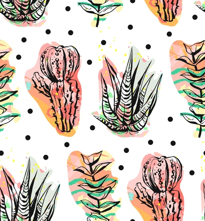 Hand drawn vector abstract graphic creative succulent,cactus and plants seamless pattern on polka dots background.Unique unusual hipster trendy design.Wedding,save the date,birthday,fashion fabric Illustration