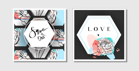 Hand drawn vector abstract creative collage freehand textured save the date greeting cards collection set template with flowers isolated on black background.Wedding,save the date,birthday,rsvp