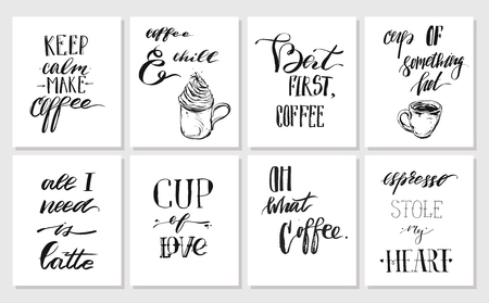 sho: Hand drawn vector graphic ink posters or cards collection set with coffee handwritten modern calligraphy quotes isolated on white background.Design decoration for sho,stamp,logo,branding.