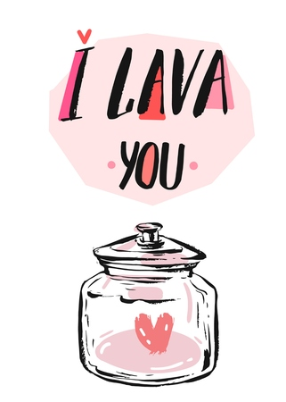 broken love: Hand drawn vector abstract graphic creative Valentines day concept greeting card with red heart in glass jar and modern ink calligraphy phase I LAVA you in pastel colors isolated on white.Unique art