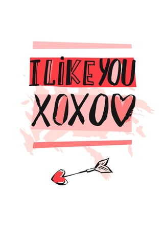 Hand drawn vector abstract creative Valentines day greeting card template with modern handwritten calligraphy phases I like you and XOXO in red and pink colors isolated on white.Fashion chic,pop Illustration