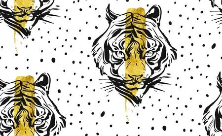 Modèle sans couture créative abstraite de vecteur dessiné main avec illustration de visage de tigre, feuille d'or et texture de pois isolé sur fond blanc. Banque d'images - 77932330