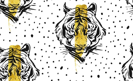 Hand drawn vector abstract creative seamless pattern with tiger face illustration,golden foil and polka dots texture isolated on white background.Design for fashion fabric,decoration,wrapping,business Illustration
