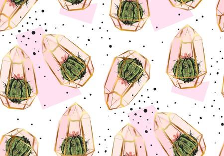 손으로 그린 벡터 추상적 인 원활한 패턴 황금 terrarium, 폴카 도트 텍스처와 선인장 식물. 일러스트