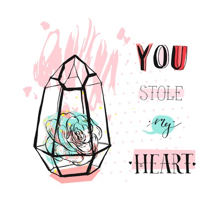 Hand drawn vector abstract graphic Love concept greeting card design with succulent plant in glass terrarium and modern calligraphy phase You stole my heart in pastel color isolated on white .