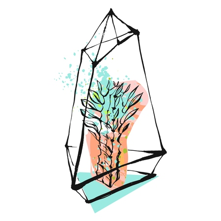 Hand drawn vector abstract graphic illustration with succulent plant in glass rough painted terrarium in pastel and tiffany blue colors isolated on white background.Design for save the date,sign,logo