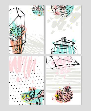 Hand getrokken vector abstract Bewaar de datum wenskaart verzameling set sjablonen met succulente, cactus plant in terrarium en uit de vrije hand textuur in pastel kleur. Ontwerp voor bruiloft, journaling, Stock Illustratie