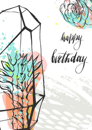 Hand drawn vector abstract unusual universal Happy Birthday greeting card template with succulent plants in terrarium and handwritten calligraphy Happy Birthday quote isolated on white background Illustration