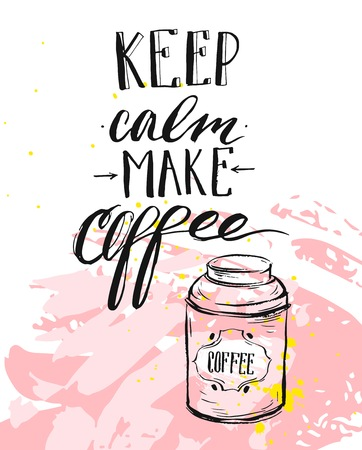 Hand made vector modern ink handwritten calligraphy phase Keep Calm Make Coffee with arrows isolated on pastel background.Design for print,coffee shop,business,decoration,fashion fabric,poster,print.