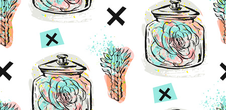 Hand drawn vector seamless pattern with succulent plants in glass jar and crosses in pastel color isolated on white background.Design for decoration,fashion,fabric,save the date,scandinavian decor.