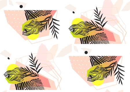 Hand made abstract summer exotic jungle plant tropical palm leaves seamless pattern isolated on white background. Tribal unusual print with wild zebra motif.Nature wallpaper.Boho painted style Ilustrace