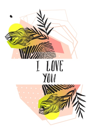 Hand made vector abstract graphic Valentines day card template with tropical tribal palm leaf motif in pink and green pastel colors with handwritten modern calligraphy I love you isolated on white
