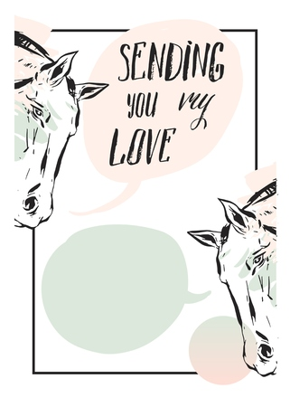 Hand made vector abstract graphic Valentines day card with horse heads,speech bubbles and modern calligraphy phase Sending you my love.Creative unique design for wedding,valentines day,greeting. 向量圖像