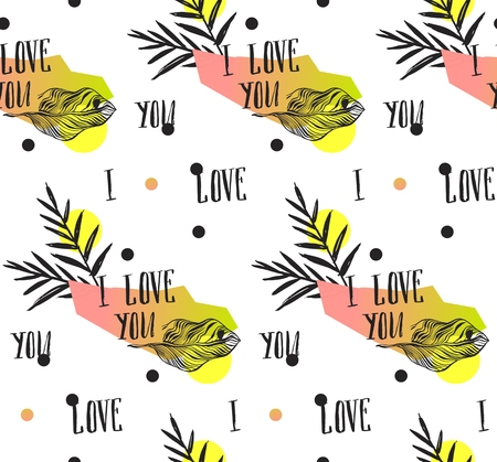 Hand made abstract summer exotic jungle plant tropical palm seamless pattern isolated on white background. Valentines day cover pattern with modern calligraphy phase I love you.Polka dot texture 向量圖像