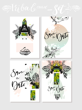 Hand made vector abstract graphic Save the Date tribal tropical exotic Valentines day cards set collection.