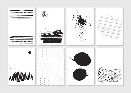 Had made vector Creative fashion glamour hand drawn template card set. Vector collection of black, white textured cards. Beautiful posters with geometric shapes.Design for valentine day,journaling.