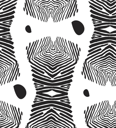 Hand made vector abstract graphic seamless pattern with zebra hand drawn print in black and white colors.Fashion unique fabric decoration.Tribal wildlife concept.Cover design.Exotic tropical motif.