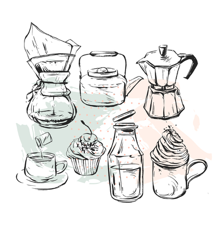 Hand drawn vector graphic realistic set with coffee design elements coffee maker,teapot,mug with whipped cream glass bottle with milk, geyser coffee and cupcakes isolated Illusztráció