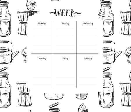 do cooking: Scandinavian Weekly and Daily food Planner Template.Organizer and Schedule with Notes and To Do List.Vector.Isolated.Graphic kitchen elements in black and white colors.Recipe weekly daily for cooking.