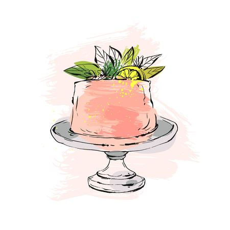 Hand drawn vector abstract watercolor textured cake on cake stand with lemon,flowers and leaves in peach colors isolated on white background.Wedding, art,anniversary,birthday,save the date,cake shop
