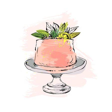 Hand getrokken vector abstracte aquarel getextureerde cake op taart staan met citroen, bloemen en bladeren in perzik kleuren geïsoleerd op een witte achtergrond. Bruiloft, kunst, verjaardag, verjaardag, sparen de datum, cake shop