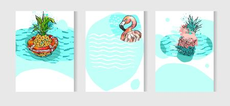 Hand drawn vector abstract artistic freehand drawing unusual summer time cards set template collection with pineapple fruit on ocean waves isolated on white background.Wedding,birthday,save the date.