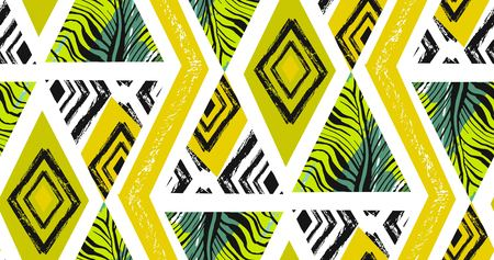 Hand drawn vector abstract freehand textured seamless tropical pattern collage with zebra motif,organic textures,triangles isolated on white background.Wedding,save the date,birthday,fashion decor Ilustração