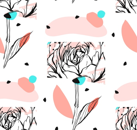 Hand made vector abstract textured trendy creative universal collage seamless pattern with floral peony motif isolated on white background with different textures and shapes.Modern graphic design. Illustration