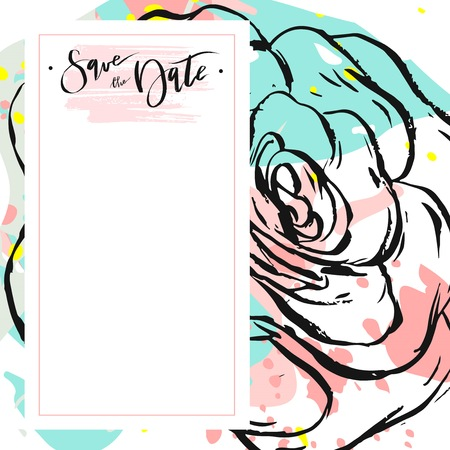 Hand drawn vector abstract creative unusual universal save the date card template with graphic flowers and succulents in pastel colors.Hand made textures.Wedding,anniversary,birthday,party invitation