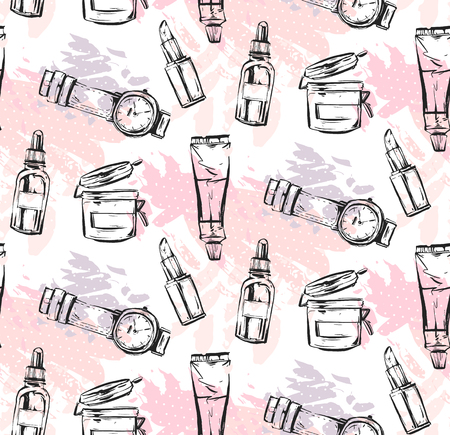 Hand drawn vector abstract textured graphic fashion chic style collection seamless pattern with girl accessories in pink pastel colors isolated on white background.Design for logo,journaling,fashion. Illustration
