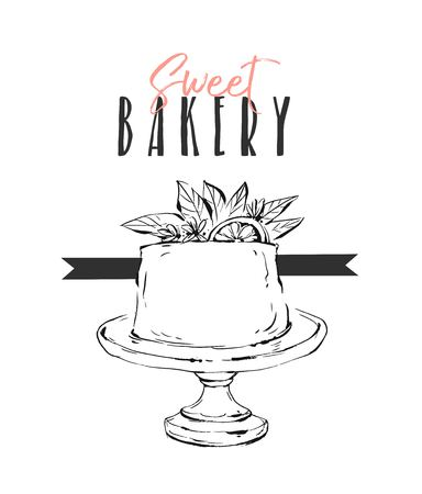 Hand drawn vector abstract unusual Sweet bakery card template with cake stand design,flowers,lemon and modern calligraphy Sweet Bakery isolated.Wedding,birthday,rsvp,save the date,sign,logo.branding.