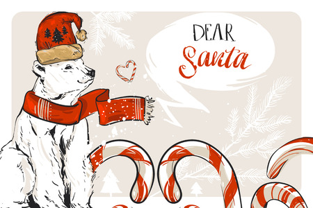 Hand drawn vector graphic Merry Christmas save the date greeting decoration card with candy canes and north polar bear isolated on pastel background.Journaling,Birthday,wedding concept.Unusual card Illustration
