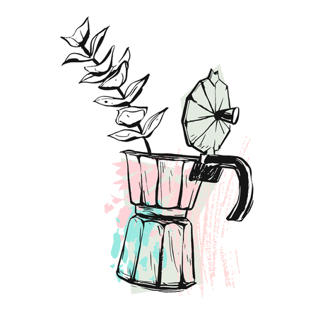 Hand made vector abstract graphic illustration with geyser coffee maker with flower brunch in pastel colors isolated on white background.Design for posters,prints,cards templates,logos,signs,flayers.