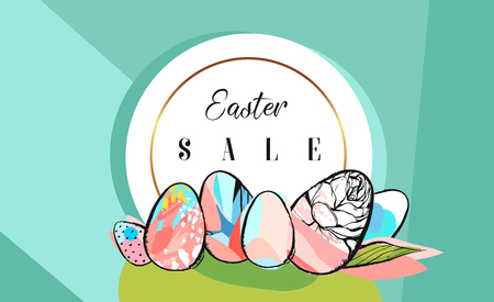 Hand drawn vector abstract creative Easter Sale greeting borders design template with drawing Easter eggs with golden frame on tiffany blue color backgrounds.Spring unusual trendy Easter cards design Illustration