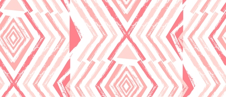 Hand drawn vector Navajo seamless pattern.Aztec abstract geometric print in pastel colors isolated on white background.Zig zag pattern Illustration