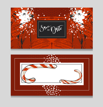 Hand drawn vector graphic modern Merry Christmas greeting decoration cards templates set with graphic polar bear isolated on red background.Unique Christmas card for journaling,poster,print,wrapping.