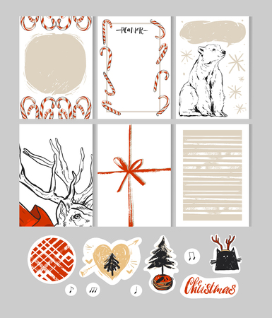Hand made Christmas Set with Cards,Notes,Stickers,Labels,Stamps,Tags with winter and christmas Illustrations and Wishes.Template for Greeting Scrap booking,Congratulations,Invitations,journaling